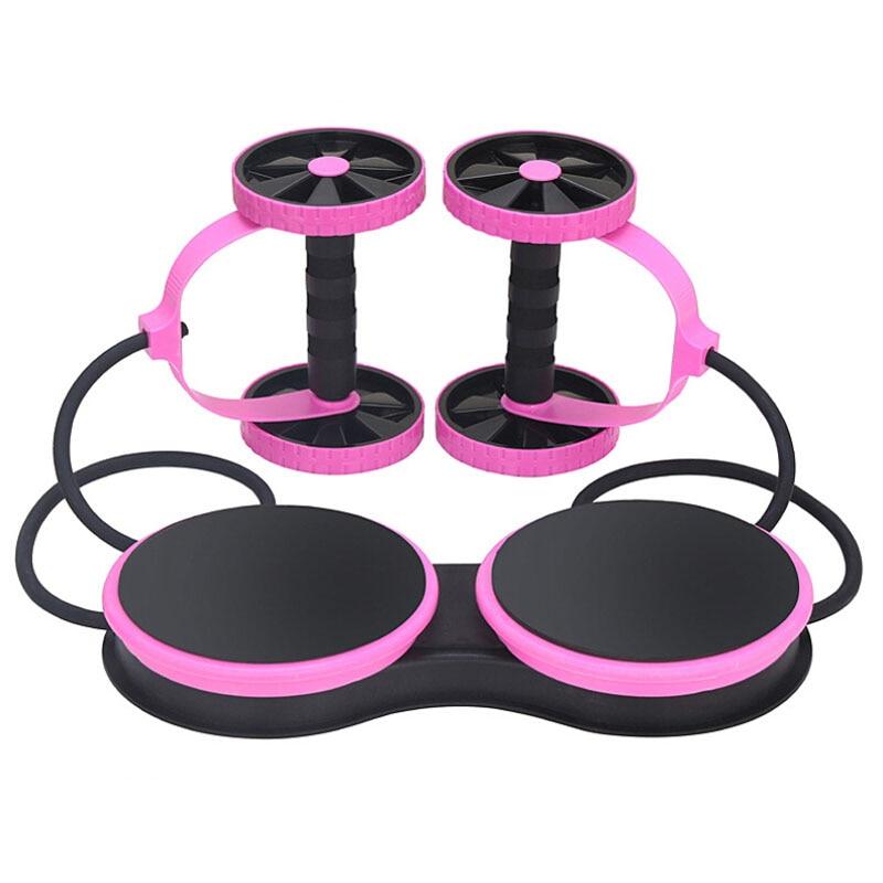 Équipement d'entraînement de corde de traction de forme physique Multi d'exercice taille amincissant le Double rouleau de roues abdominales avec des bandes élastiques ceinture de corde 3