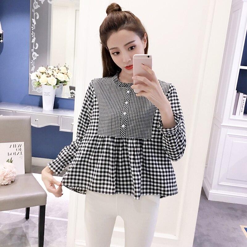 2019 New Women   Shirts   Flare Sleeve Plaid A Word Small Qing Han Fan Doll   Blouse     Shirt   Red Green Black 3209