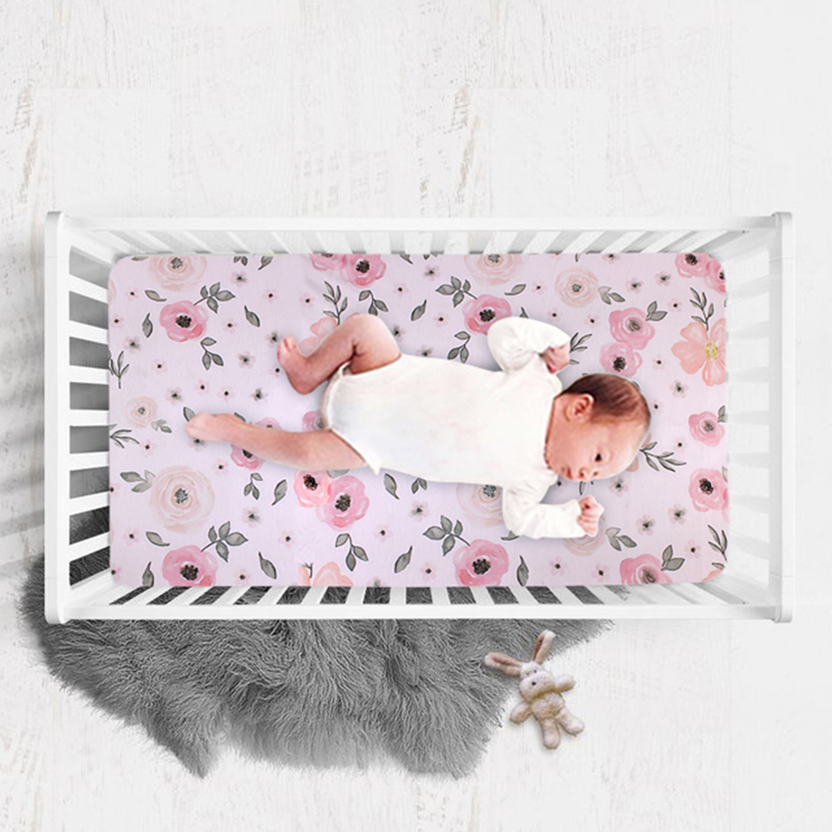 100% Cotton Crib Fitted Sheet Soft Breathable Baby Bed Mattress Cover Cartoon Newborn Bedding For Cot Size 52*28 Inch