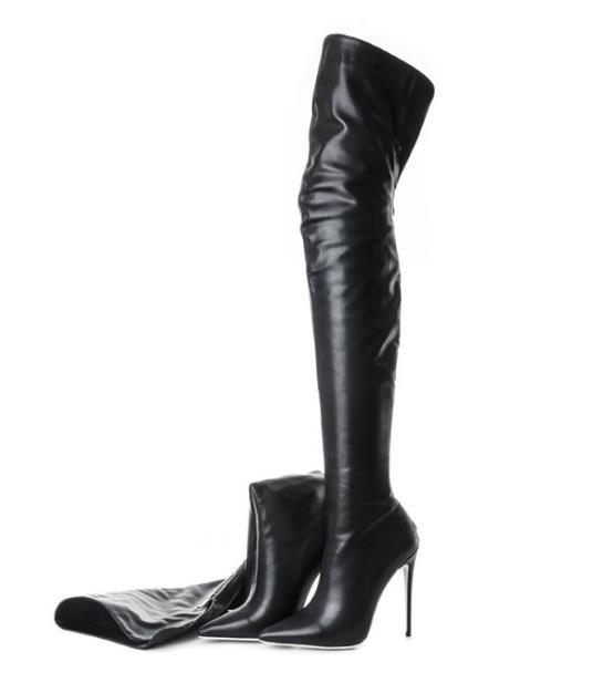 Sur Sexy Grande Taille À Femme Brevet 43 4445 Noir Pointu Hauts patent 4647 Chaussures Bout Bottes Le 2019 Nouveau Talons Genou Pu Pour OPNn0X8wkZ