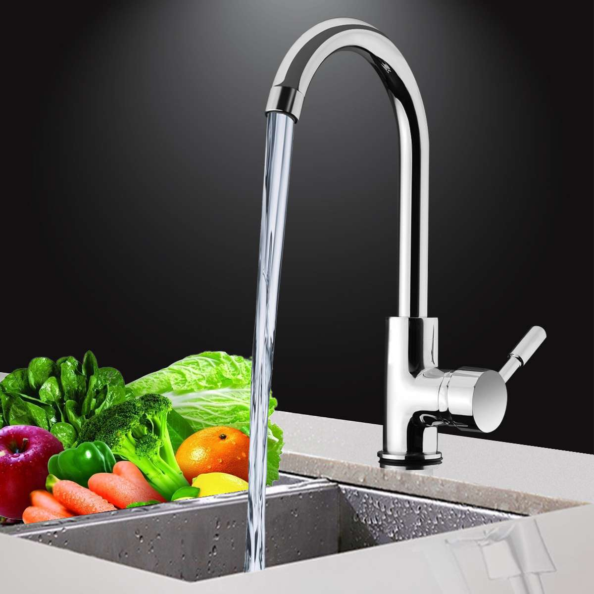 Kitchen 360Degree Rotatable Spout Sink Basin Water Faucet Curved Mixer Tap Bathroom Hot And Cold Single Handle Tap Faucet