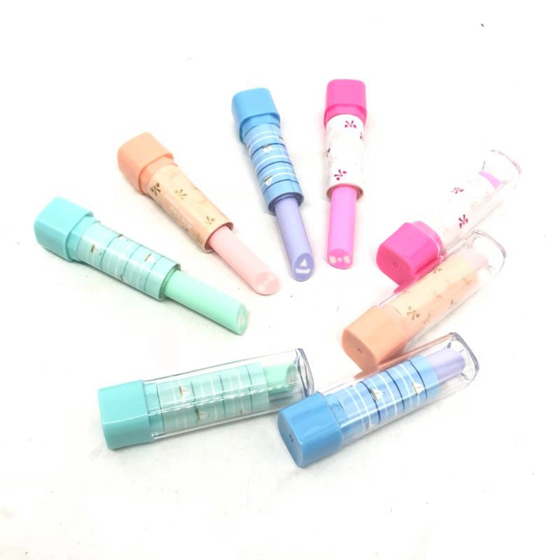 Cute Kawaii Lipstick Rubber Eraser Creative Novelty Pencil Eraser Kids Students Gifts Office School Korean Stationery Supplies