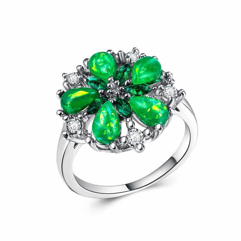 925 เงินสเตอร์ลิงเครื่องประดับ treasure แหวนประณีตห้ากลีบดอกไม้โอปอลแหวนสแตนเลส rose golden หยก amethystB1453