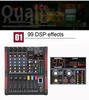 Professional DJ смешивания 4 канала Bluetooth консоли микрофон аудио караоке микшер 48 phantom мощность 99 DSP для KTV Live