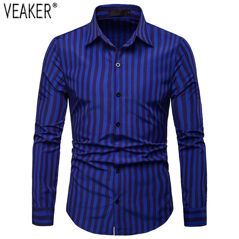 2019 New Men's Slim Fit Striped Shirt Red Blue Green Long Sleeve Business Shirt Tops Male Casual Striped Shirt S-2XL