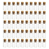 50 Stuks 12*24 Mm 1.5 Ml Mini Glazen Flessen Lege Mini Glazen Potten Met Kurk Voor Diy craft Decoratie-Transparant