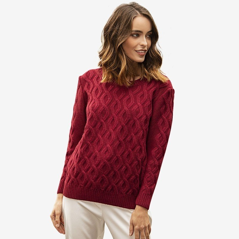 Sweater pigtail. Color Wine red. round neck color block sweater
