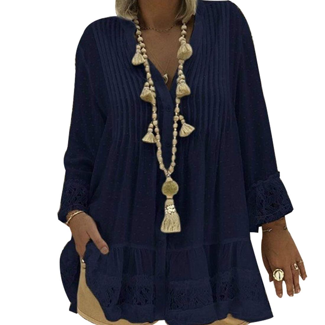 Image 3 - 2020 Large Size 4xl 5xl Summer Clothing Lace Shirts Loose Chiffon Dress Loose blouse shirt Sleeve V Neck Shirt Female BlousesBlouses & Shirts   -