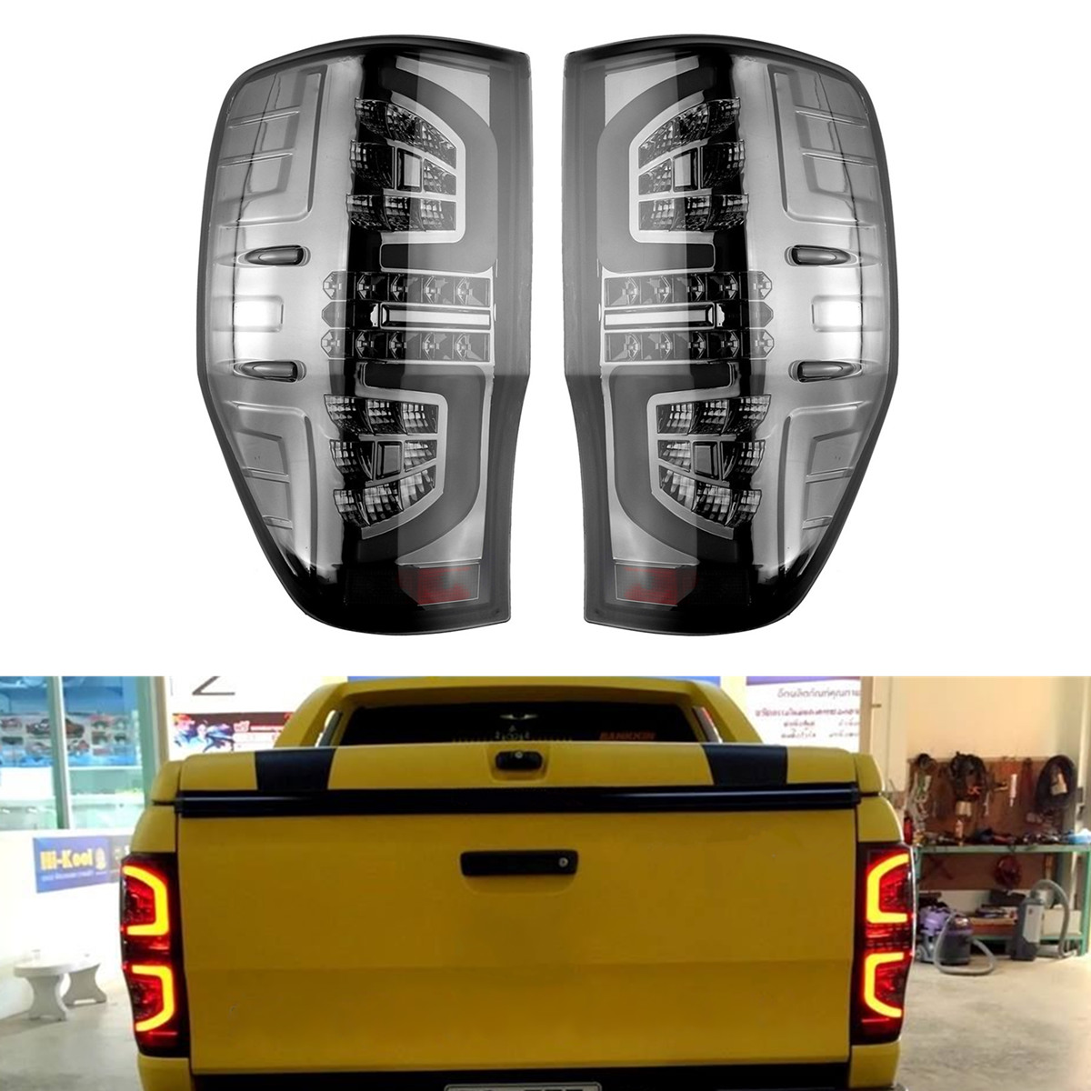 1Pair Rear Tail Lights Lamp for Ford Ranger PX T6 MK2 XL XLT XLS Wildtrak AT Smoked LED Making Installation Breeze Match Factory