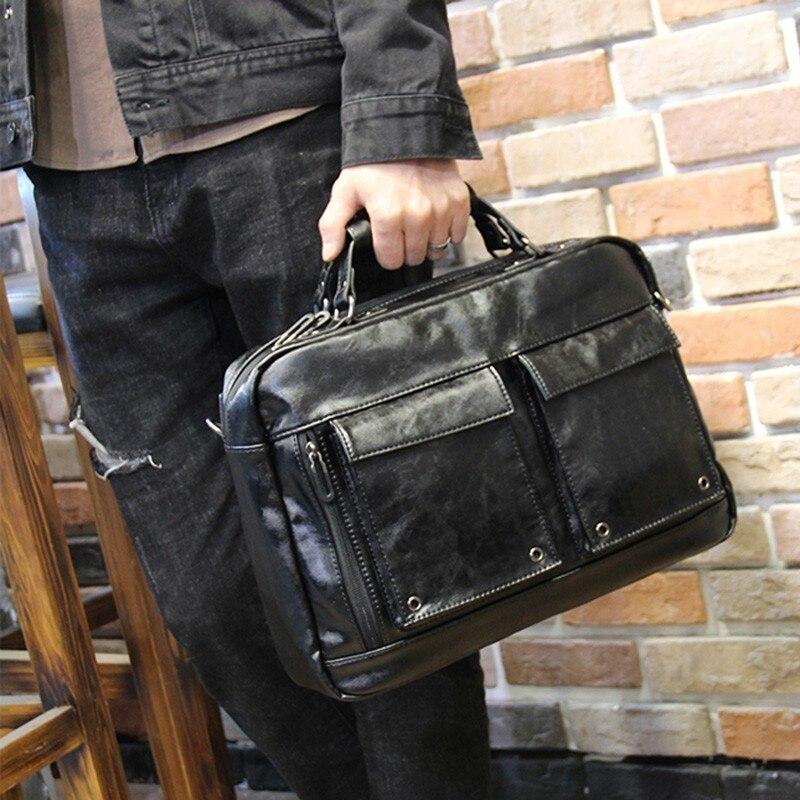 Messenger Bag Men PU Leather Fashion Man Briefcase Laptop Shoulder Crossbody Bags Bolso Hombre Computer Handbags