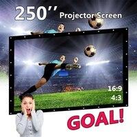250 свернуть портативный экран для проектора 16:9 переносной экран для проектора домашнего Театр Full HD 3D проекционный настенный
