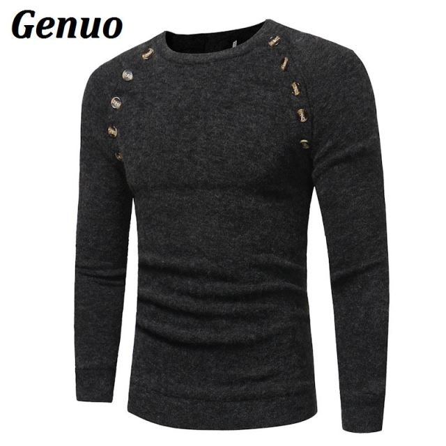 Genuo Sweater Pullover Men 2018 Male Brand Casual Slim Sweaters Men Button Splicing Solid Hedging Turtleneck Men'S Sweater XXL