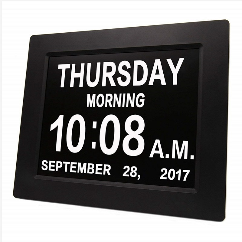 8 LED Dementia Digital Calendar Day Clock Large Time Colors Day/Week/Month/Year