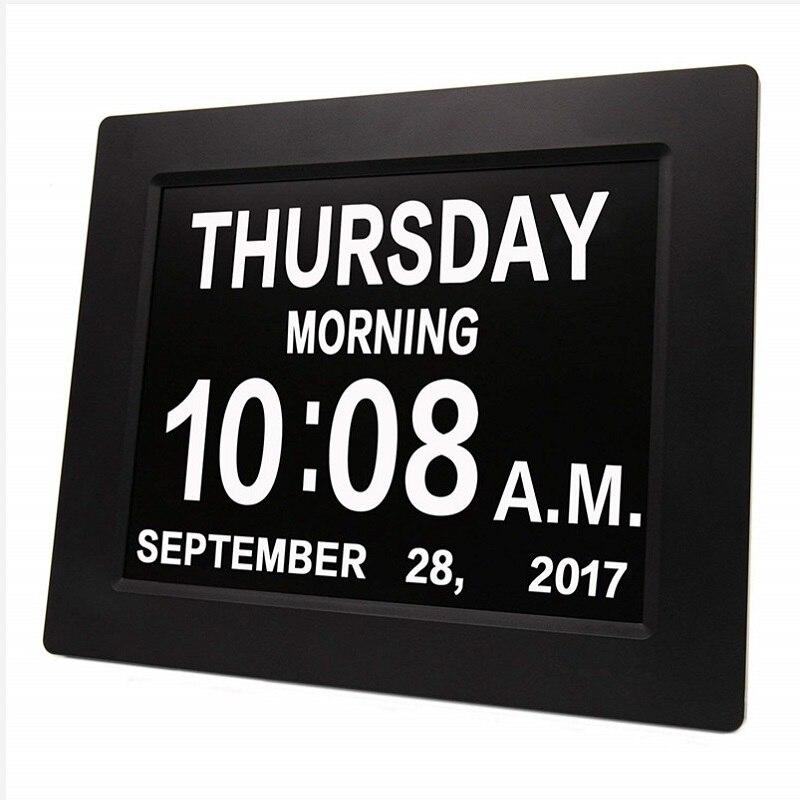 8 LED démence calendrier numérique jour horloge grand temps couleurs jour/semaine/mois/année