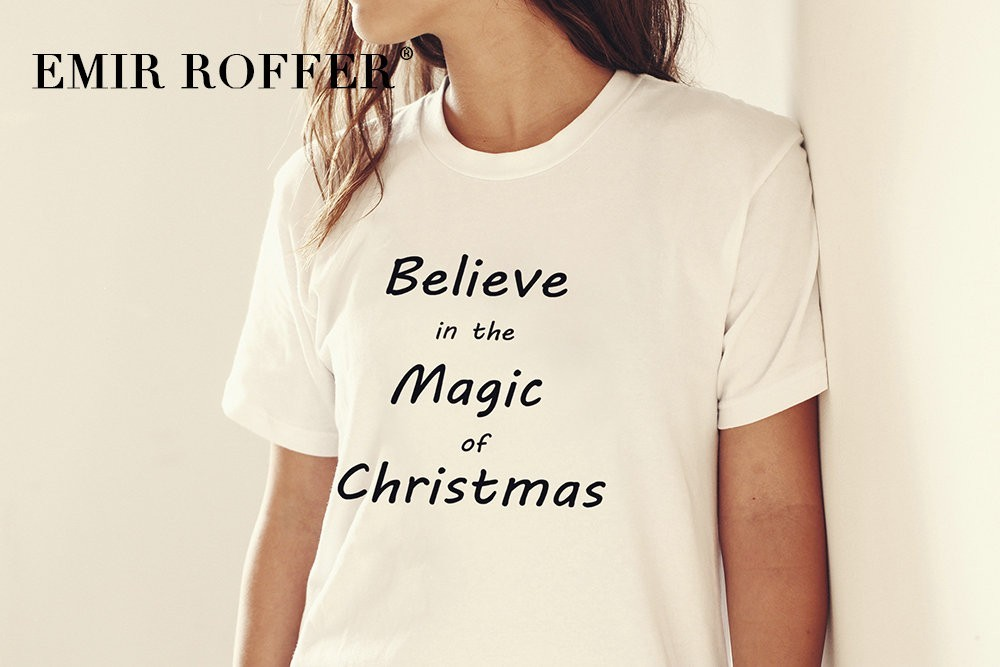 a533b5a0 EMIR ROFFER Believe in the Magic of Christmas Shirt Women Funny Black T  Shirt Magic Sayings Tee Cotton Tshirt Tops Clothes -in T-Shirts from Women's  ...