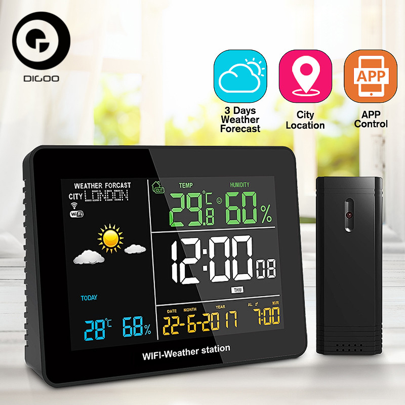 DIGOO DG TH8788 Multifunction APP Remote Setting WIFI Weather Station Automatic Connect Smart Home Thermometer Hygrometer