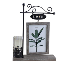 opening promotion-European With Hydroponics 6 Inch Hanging Double-Sided Wood Photo Frame Picture Creative Iron Crafts Gi