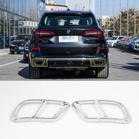 2Pcs Bright Silver Stainless Steel Exhaust Pipe Cover Trim For BMW X5 2019 Model Car Accessories
