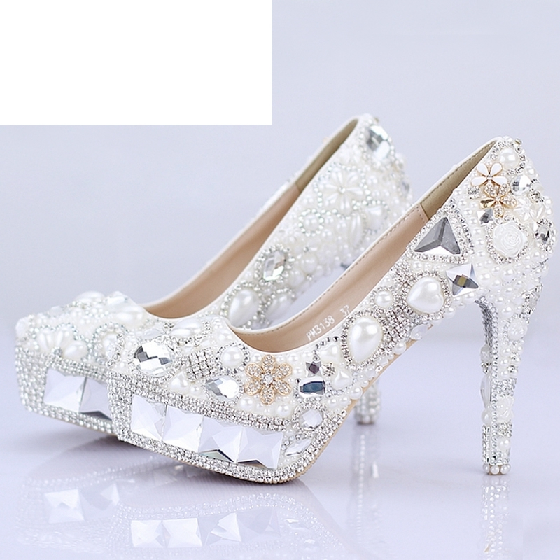 Sparkling Crystal Bridal Wedding Shoes Pageant Evening Shoes Festival Party Prom High Heels White Pearl Women Banquet Shoes zx 1029 woman s fashionable retro colorful rhinestone inlaid bracelet multicolored