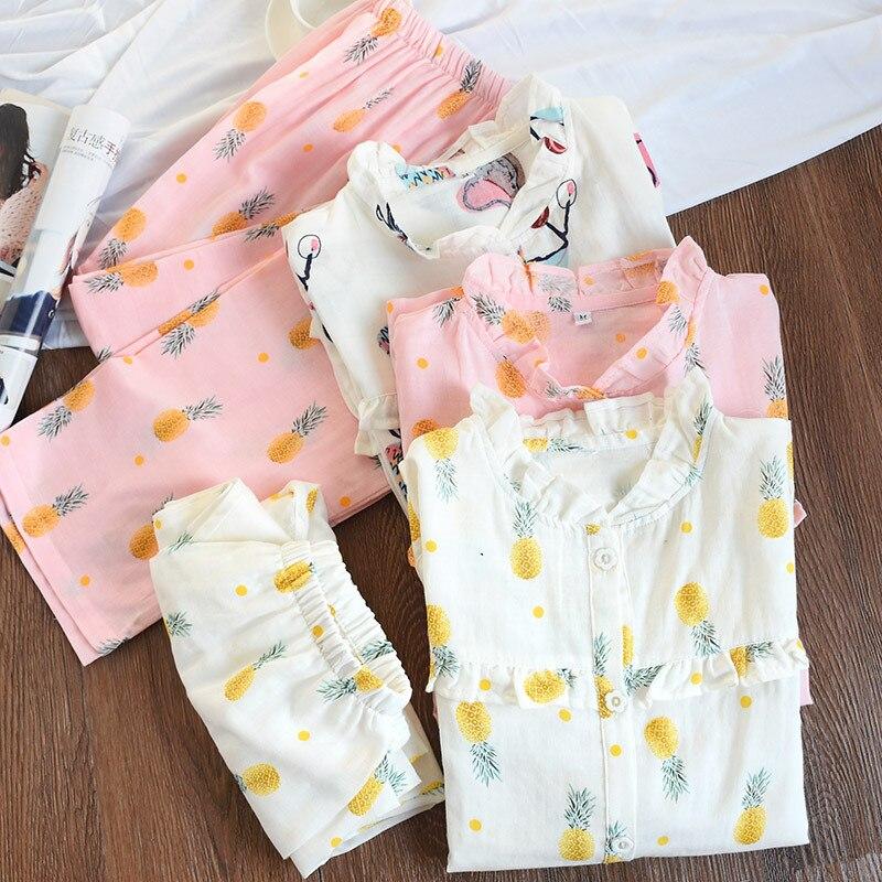 Autumn 100% Cotton Gauze Womens   Pajamas   Suit Long Sleeve   Pajama     Set   Cartoon Round Neck Sweet Lovely Pijama Mujer Pink Pyjamas