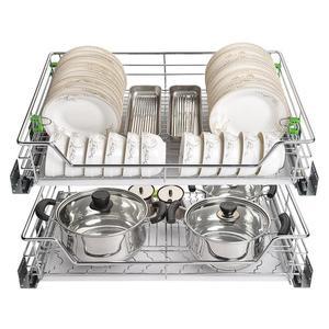 Image 4 - Armario spiżarnia Rangement Organizer i Despensa Gabinete ze stali nierdzewnej Cozinha kuchnia stojak kuchnia do przechowywania w szafce kosz