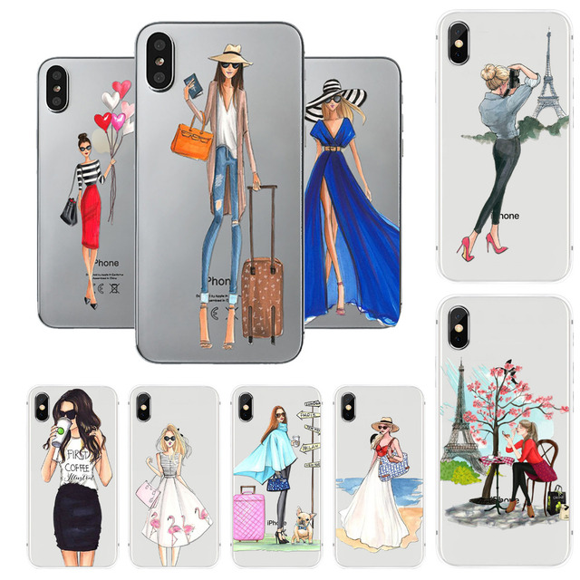 52424cc462 For iPhone X Case Fashion Girls Lady Shopping Transparent Clear Soft TPU  Back Cases Cover For Apple iPhone 10 Shell Capa Bag