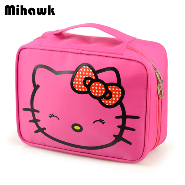 fc5c761f90f0 Mihawk Girl s Hello Kitty Cosmetic Bag Cute Travel Makeup Organizer Case  Beautician Beauty Suitcase Accessories Supplies Product