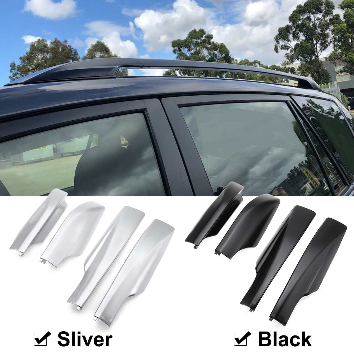 4Pcs Black Silver ABS Roof Rack Cover Rail End Protective Cover Shell For TOYOTA RAV4 2007 2008 2009 2010 2011 2012 image