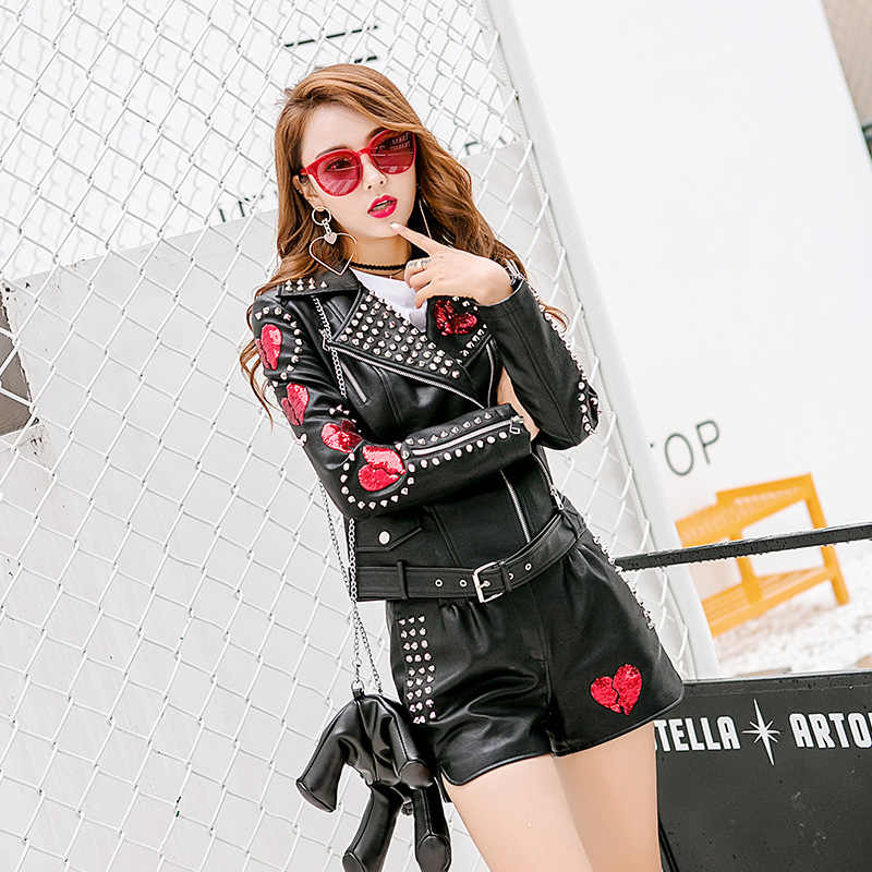 Hot New Leather Clothing Tops Leather Jacket Sequin Patch Decoration Women PU Motorcycle Clothing 2019 Female Spring (No Pants)