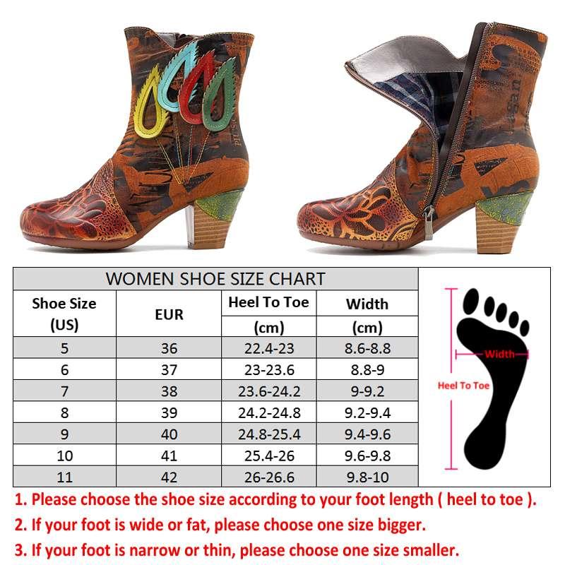 Socofy Vintage botas de cuero genuino zapatos de mujer Otoño Invierno botas de tobillo Retro pintado a mano zapatos de mujer nuevos-in Botas hasta el tobillo from zapatos    3