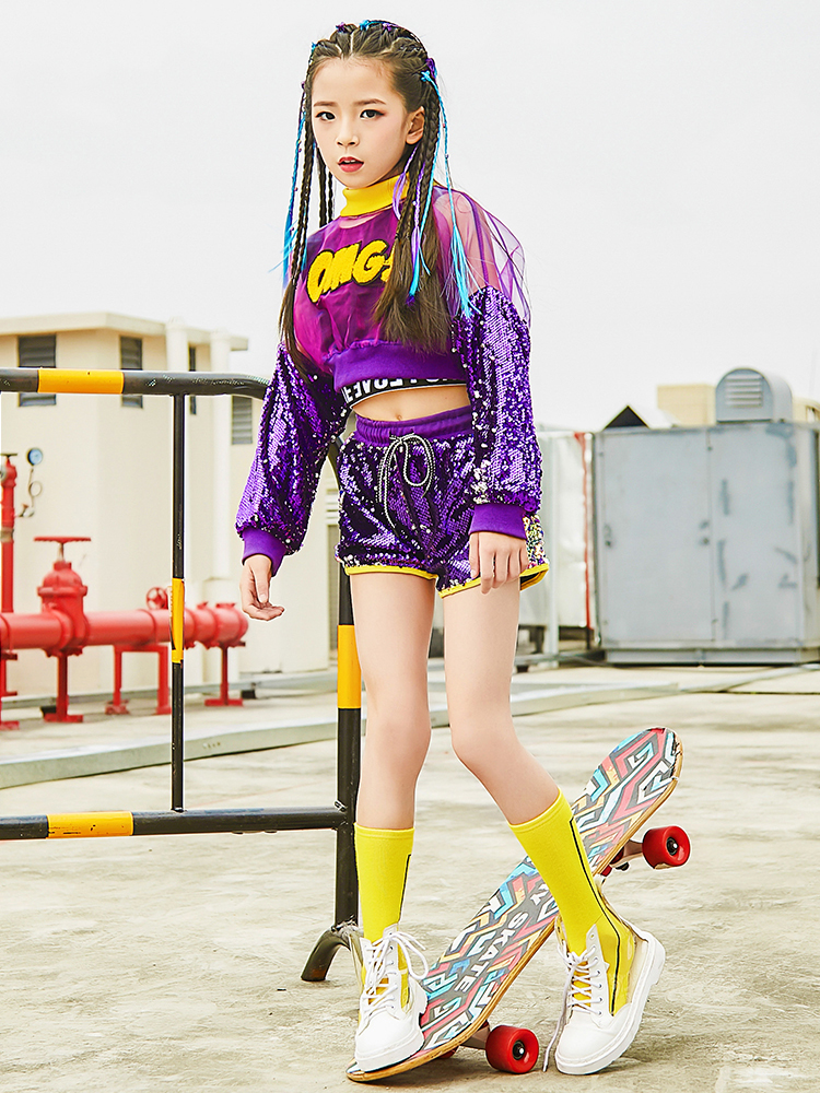 Songyueixa Girls Jazz Dance Costume Children Street  Hip Hop Dance Jazz Stage Dancewear Dew Cordon Sequin Drum Costume