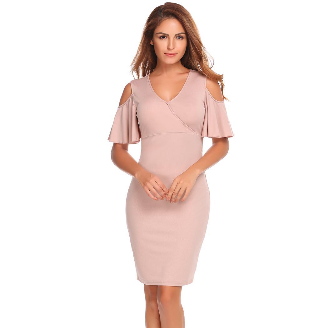 AL'OFA Bodycon Party   Dress   Women V Neck Cold Shoulder Short Flare Sleeve Solid Slim Elegant Summer   Cocktail     Dress   Formal Gowns
