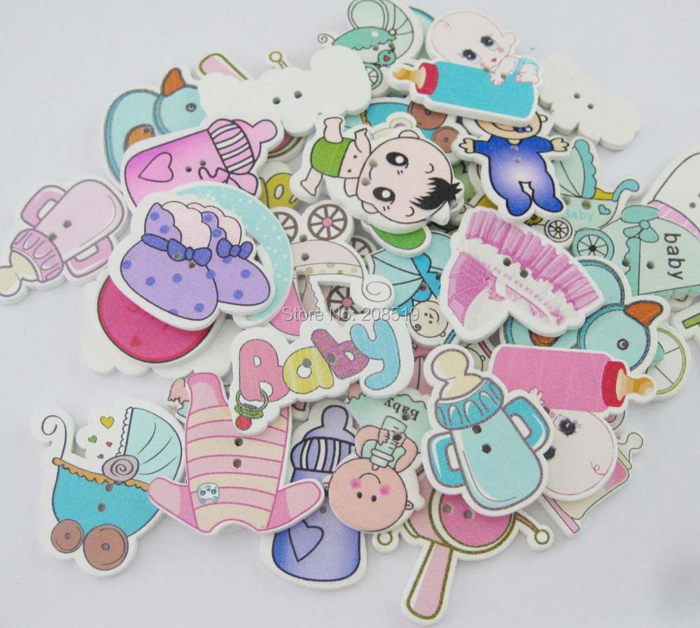 WBNWKE cutely kids clothes buttons wood printed mix 120pcs randomly 2-holes home sewing accessory