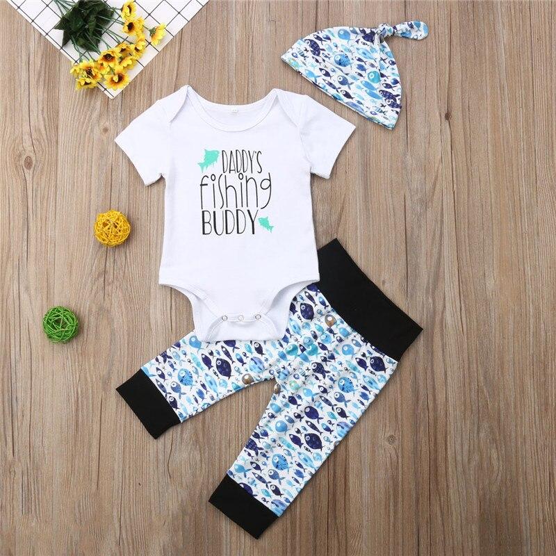 0-18 M Baby Jungen Kleidung Set 3 Stücke Brief Tops T-shirt Für Jungen Blau Wurf Fische Drucken Lange Hosen Baby Kappe Neugeborenen Baby Boy Set Verkaufsrabatt 50-70%