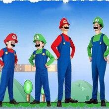 Super mario traje adulto bros luigi ropa hermanos niñas niños hombres y  mujeres adultos cosplay para niños vestido sombrero traj. 7e60416c69f