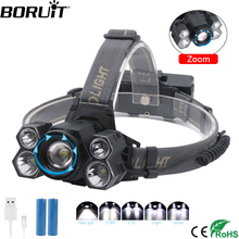 цена на BORUiT 8000lumens 3*T6+2*XPE LED HeadLamp Rechargeable Head Torch 5-Mode Zoom Headlight Fishing Camping Flashlight 18650 Battery