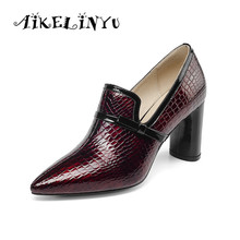 AIKELINYU Autumn Top Quality High Heels Genuine Leather Pointed Toe Party Shoes Woman Classic Brand Ladies Office Pumps Shoes fedonas sexy black genuine leather high heeled shoes woman square toe classic brand office pumps autumn winter ankle boots