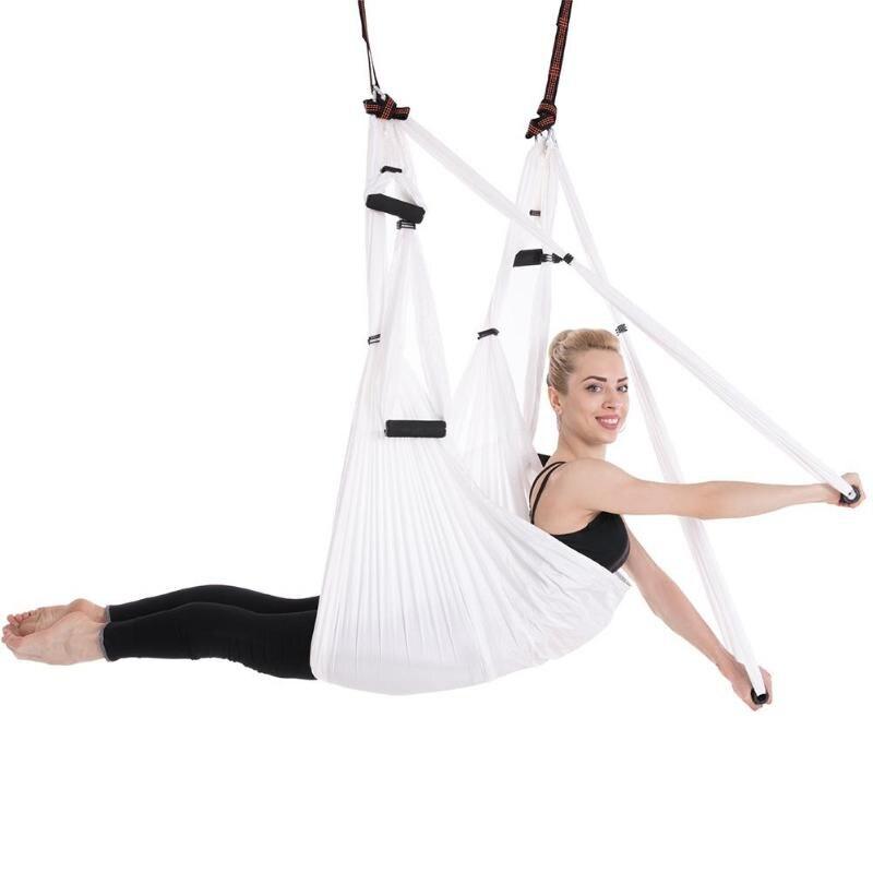 Matériel de hamac de Yoga Anti-gravité tissu Yoga balançoire volante dispositif de Traction aérienne Yoga ensemble de hamac (blanc)