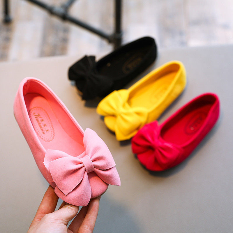 Lovely Children Kids Girls Princess Bow Casual Shoes Kids Single Shoes Party Pageant Dance Shoes Anti-slip Fashion Shoes
