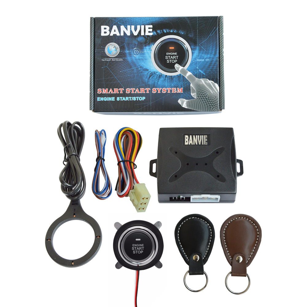 BANVIE Auto Car Alarm Engine Push Button Start Stop RFID Lock System Ignition Switch Keyless Entry Anti-theft starline a91 rolling code rfid pke car alarm system push button start stop remote engine start passive keyless entry smart password keypad