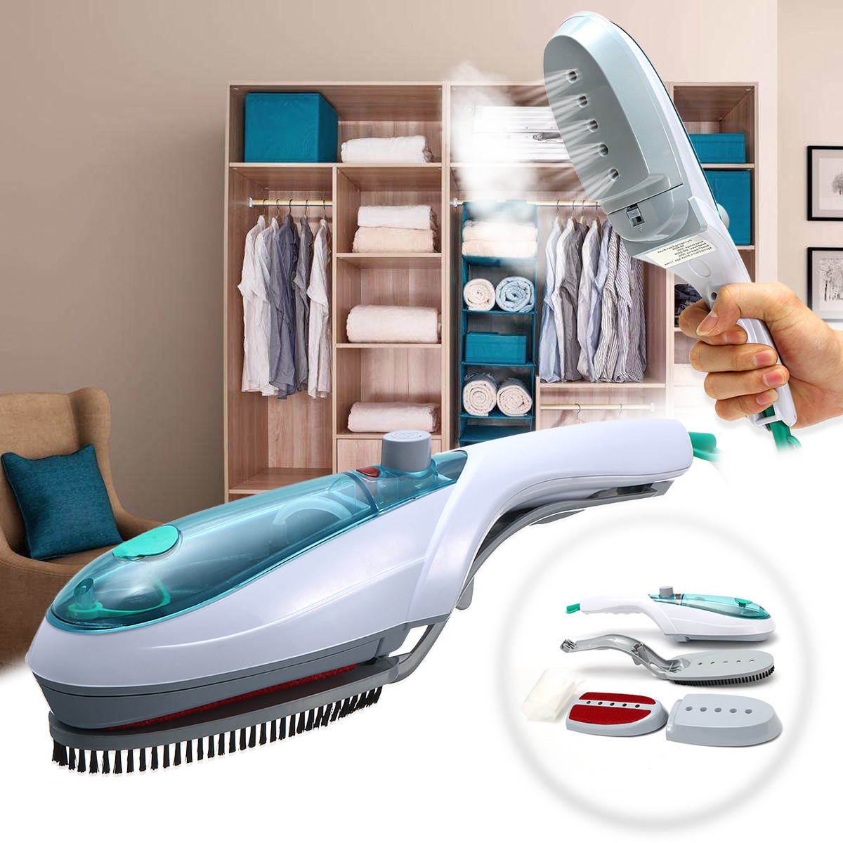 Multifunction Portable Garment Steamer Handheld Electric Steam Iron Kit For Home Travelling Fabric Clothes Cleaning Brush цена