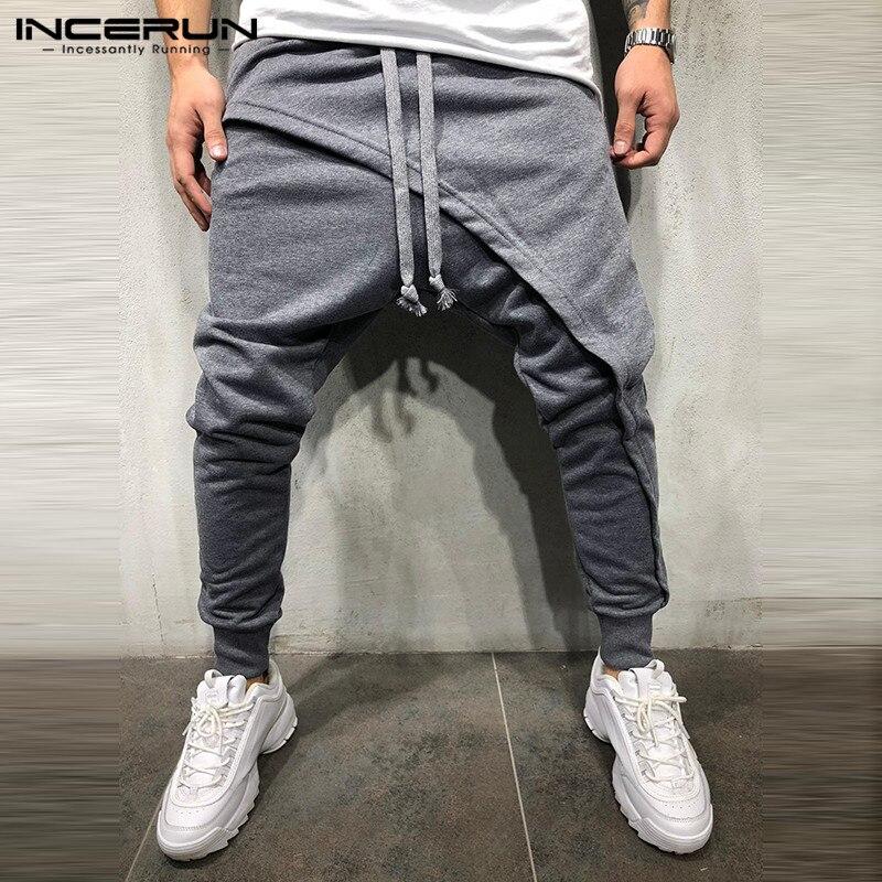 INCERUN Fashion Men Harem Pants Drawstring Joggers Hip-hop Drop Crotch Cross-pants Streetwear Fitness Casual Pants Trousers Men