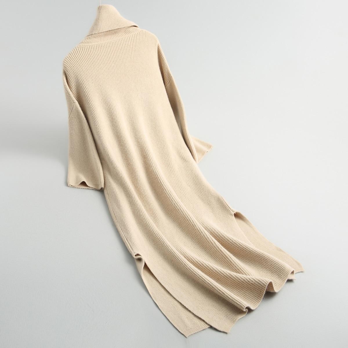 Arrivée Femelle Printemps Nouvelle Sexy Black Solide Longue apricot Robe De Turn Mince Femmes 2018 Col down Robes Automne Vêtements Épaissir Tricot mn8vNO0w