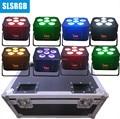8 шт./лот с flightcase Pro Up-lighting DJ Par Light перезаряжаемая Беспроводная батарея DMX Powered 6в1 6*18 Вт RGBWAUV 6 в 1