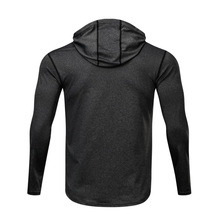 Men's Running T Shirt Long Sleeve Hoodie Slim Dry Fit Breathable Crossfit Sport.