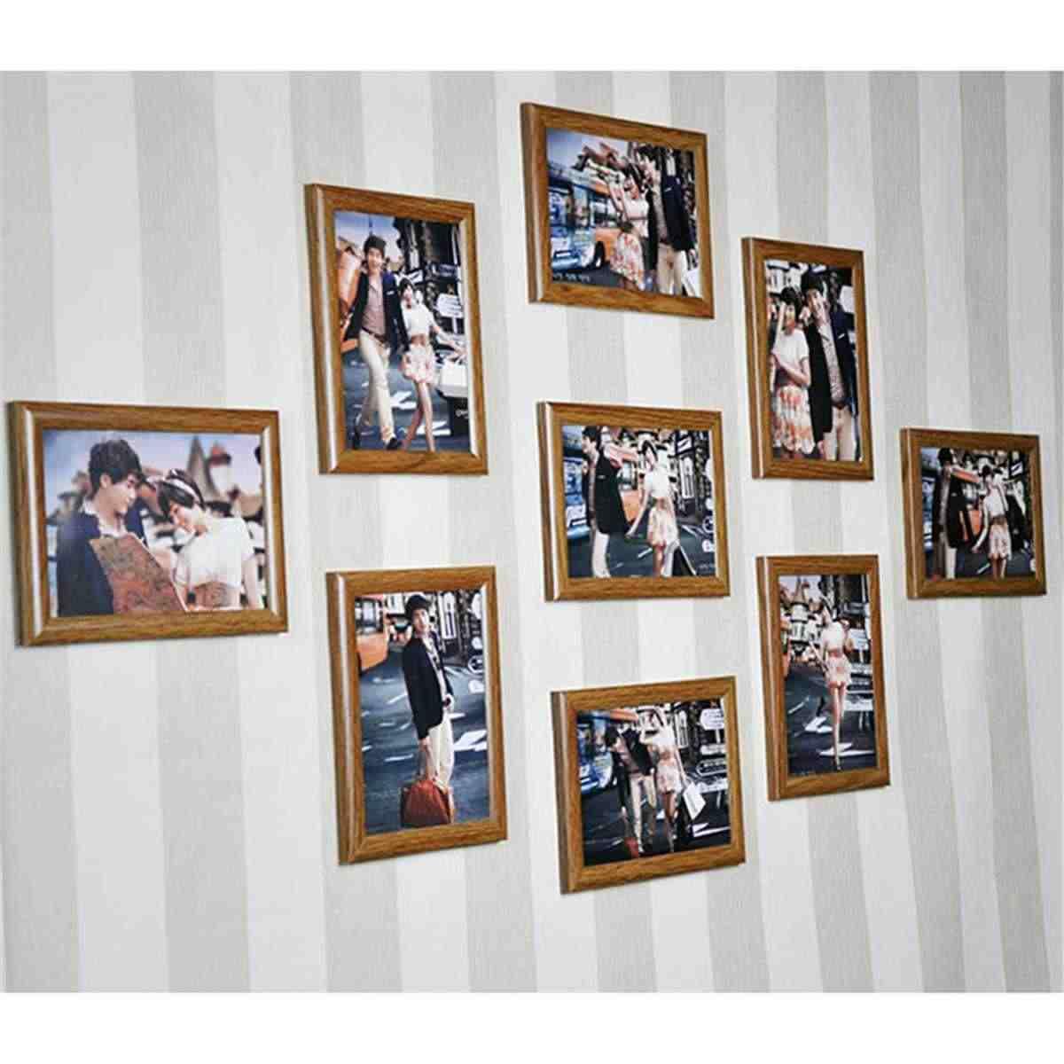 9 Pieces Mini Pictures Frames Retro Family Photo Frame Home Decor Art Wooden Wedding Vintage DIY Family Frame Home Decoration