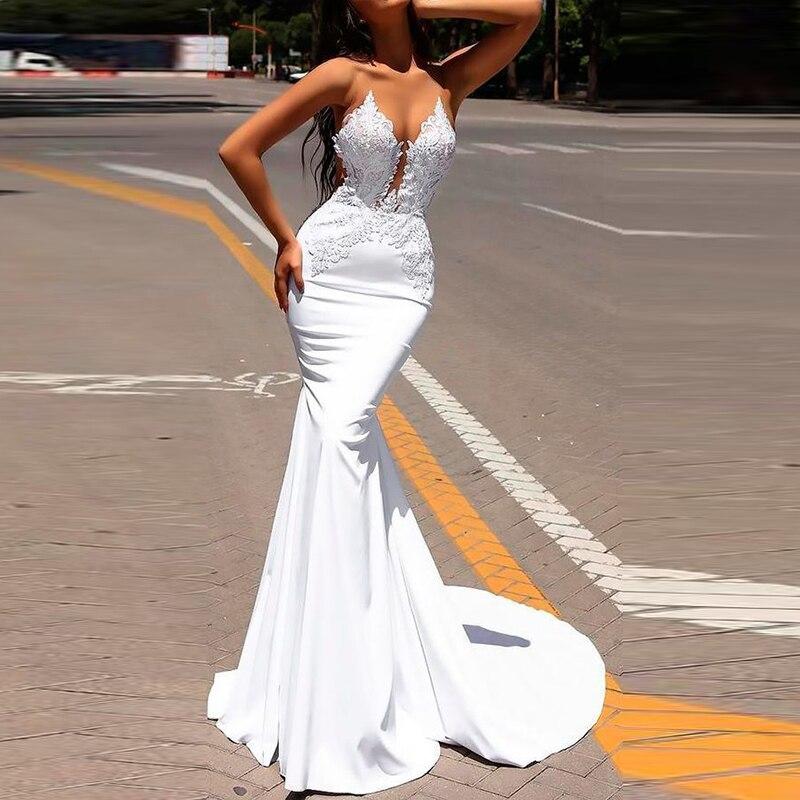 Женское белое коктейльное Свадебное бальное Вечернее Платье С v-образным вырезом и открытой спиной