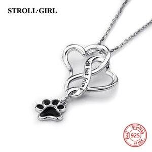 Image 3 - Strollgirl 925 Sterling Silber Meinen Besten Freund Hund Footprint Halsketten & Anhänger mit Schwarz Emaille Frauen Silber Schmuck Geschenk