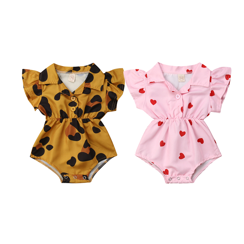 Baby Girl Bodysuit Newborn Infant Baby Girls Pink Heart Flower Blouse Bodysuits Leopard Shirt Collar Jumpsuit Outfits Sunsuit in Bodysuits from Mother Kids