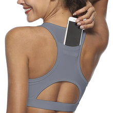 8336982f56 Women Padded Gym Yoga Sports Bra Stretch Workout Phone Pocket Running  Hollow Tank Top(China
